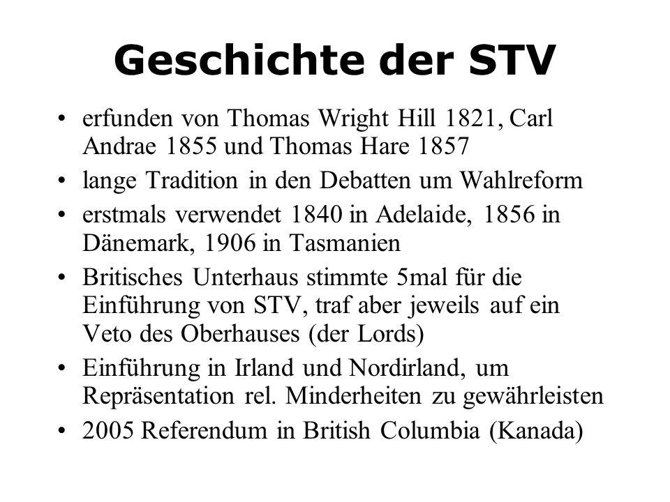 Geschichte der STV erfunden von Thomas Wright Hill 1821, Carl Andrae 1855 und Thomas Hare 1857. lange Tradition in den Debatten um Wahlreform.