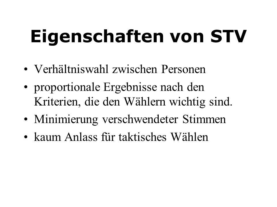 Eigenschaften von STV Verhältniswahl zwischen Personen
