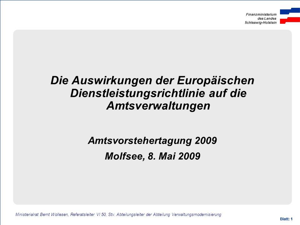 Die Auswirkungen der Europäischen Dienstleistungsrichtlinie auf die Amtsverwaltungen