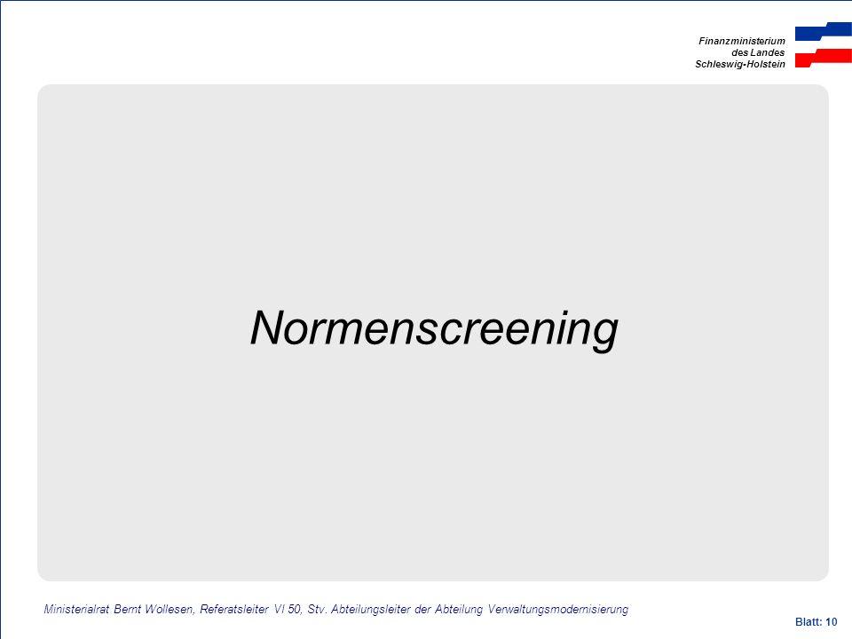 Normenscreening Ministerialrat Bernt Wollesen, Referatsleiter VI 50, Stv. Abteilungsleiter der Abteilung Verwaltungsmodernisierung.
