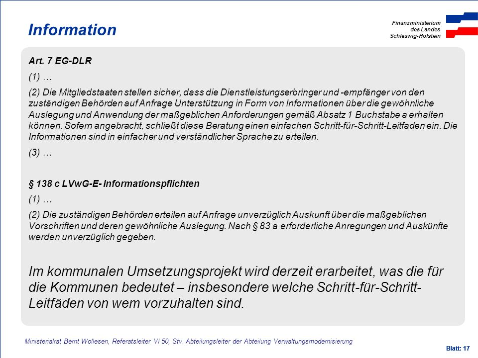 Information Art. 7 EG-DLR. (1) …