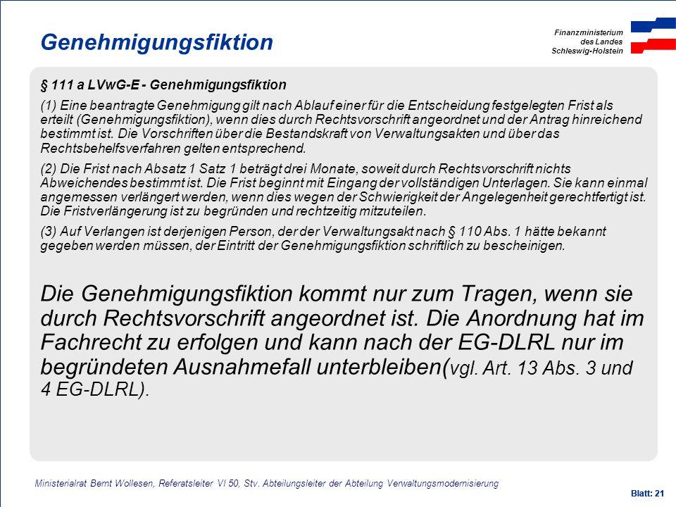 Genehmigungsfiktion § 111 a LVwG-E - Genehmigungsfiktion.