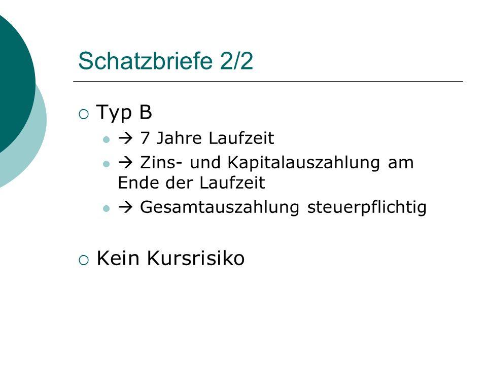 Schatzbriefe 2/2 Typ B Kein Kursrisiko  7 Jahre Laufzeit