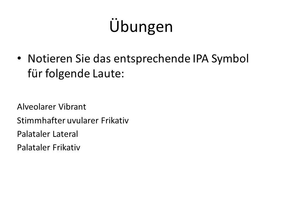 Übungen Notieren Sie das entsprechende IPA Symbol für folgende Laute: