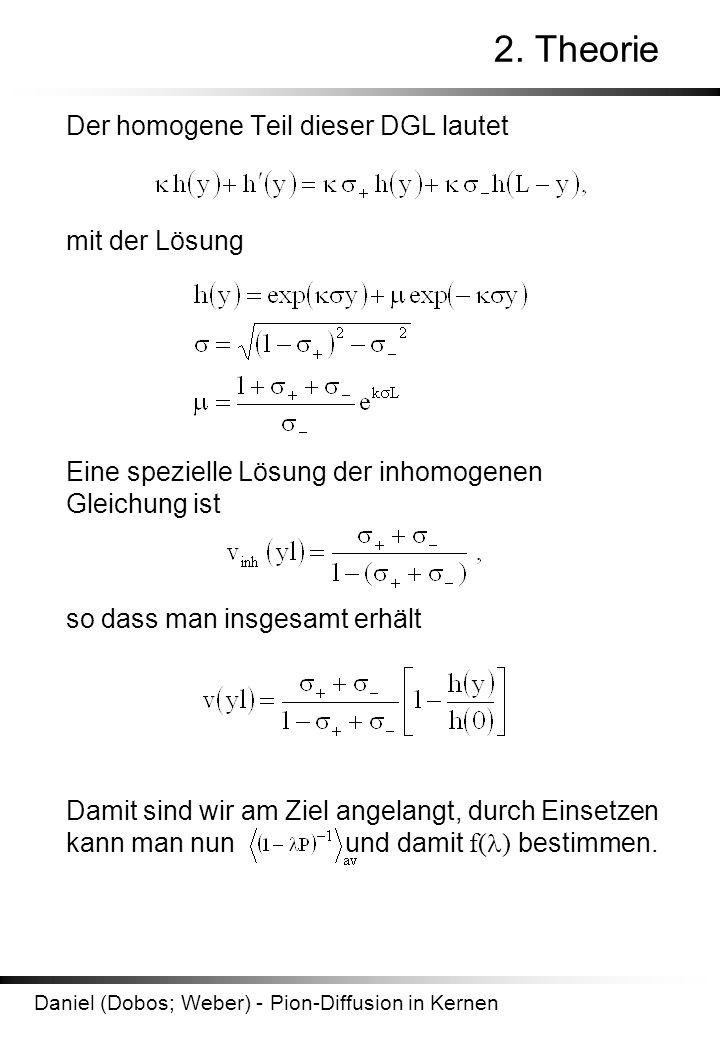 2. Theorie Der homogene Teil dieser DGL lautet mit der Lösung