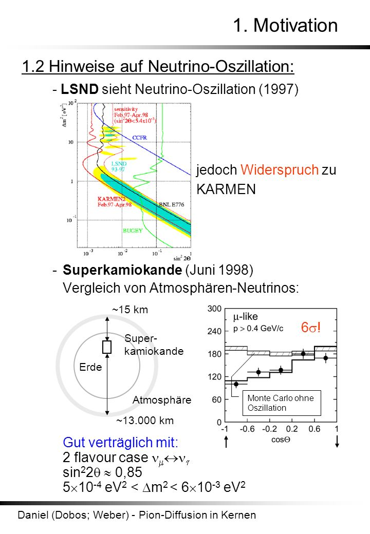 1. Motivation 1.2 Hinweise auf Neutrino-Oszillation: