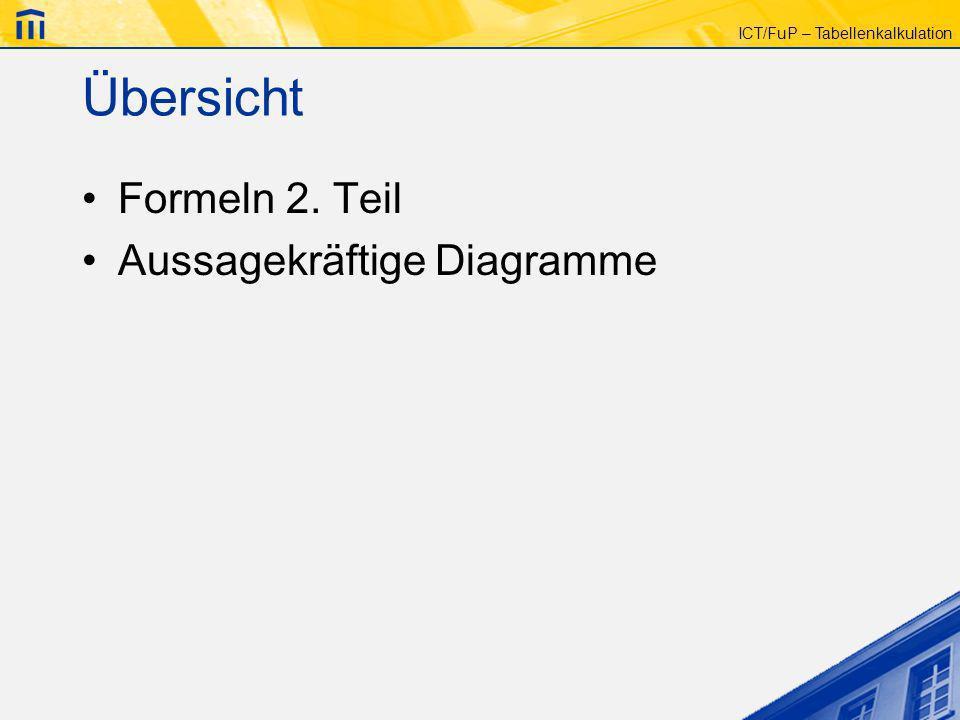 Übersicht Formeln 2. Teil Aussagekräftige Diagramme