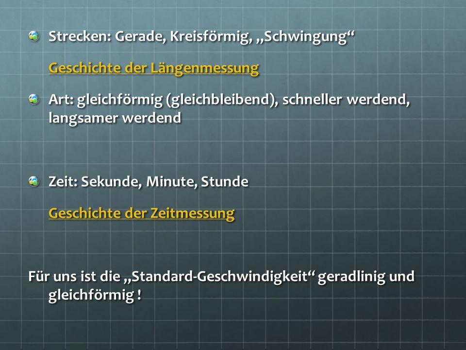 """Strecken: Gerade, Kreisförmig, """"Schwingung"""