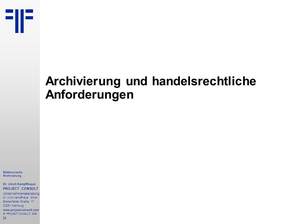 Archivierung und handelsrechtliche Anforderungen