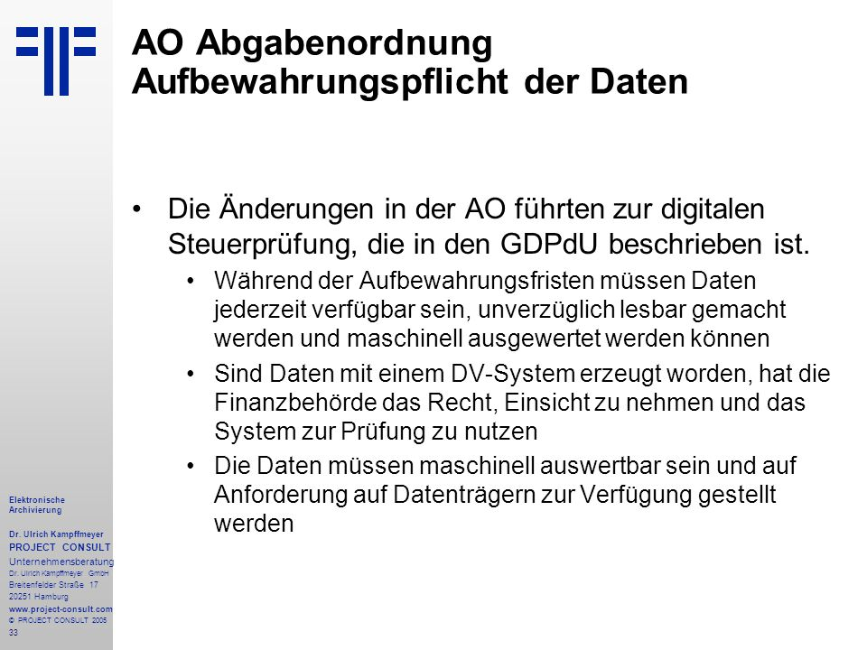AO Abgabenordnung Aufbewahrungspflicht der Daten