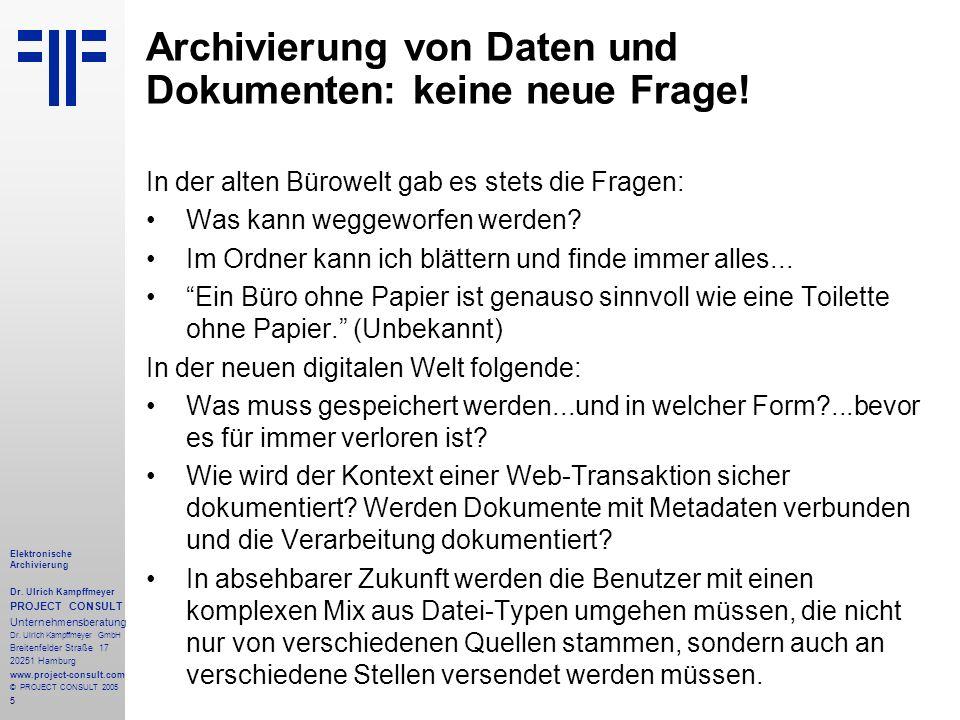 Archivierung von Daten und Dokumenten: keine neue Frage!