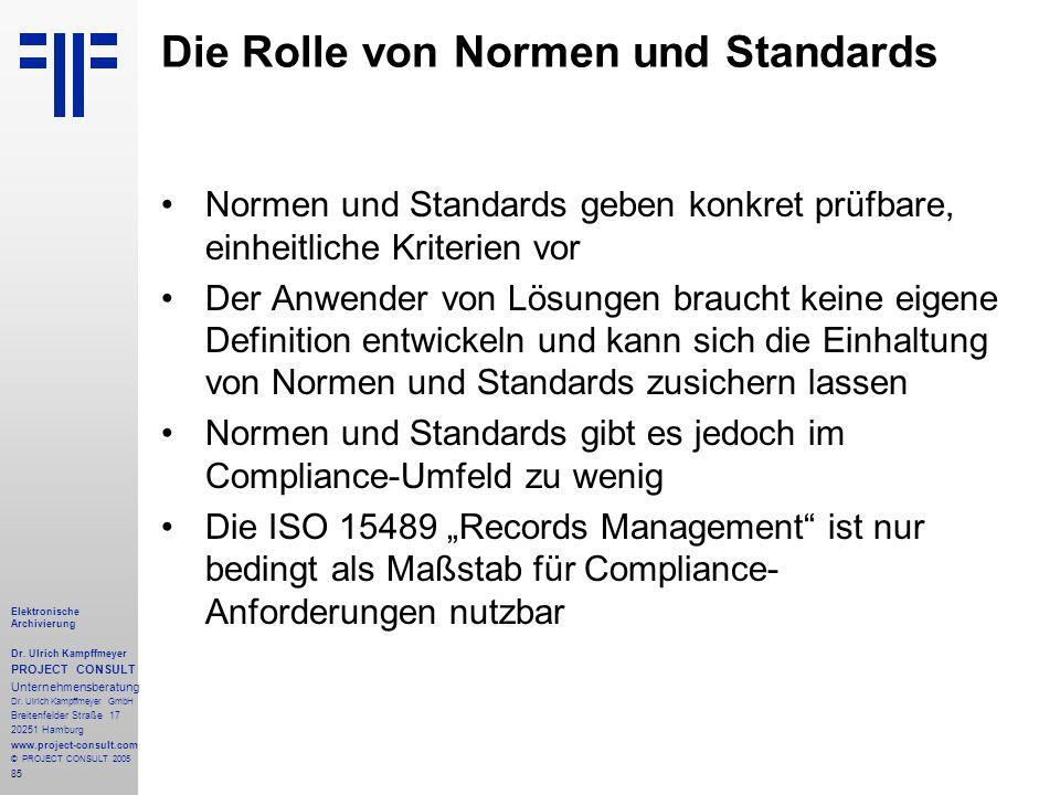 Die Rolle von Normen und Standards
