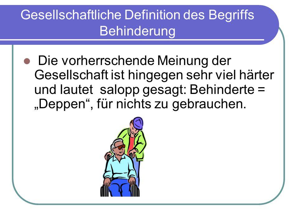 Gesellschaftliche Definition des Begriffs Behinderung