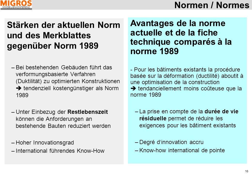 Normen / Normes Stärken der aktuellen Norm und des Merkblattes gegenüber Norm 1989.