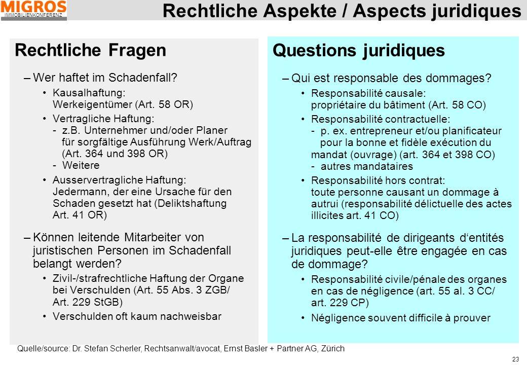 Rechtliche Aspekte / Aspects juridiques