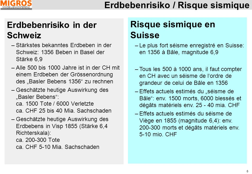 Erdbebenrisiko / Risque sismique