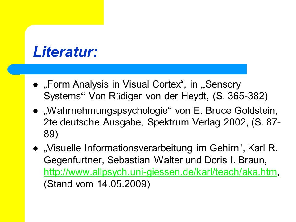 "Literatur: ""Form Analysis in Visual Cortex , in ""Sensory Systems Von Rüdiger von der Heydt, (S. 365-382)"