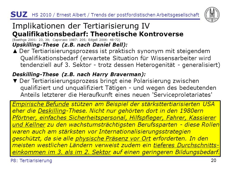 Implikationen der Tertiarisierung IV