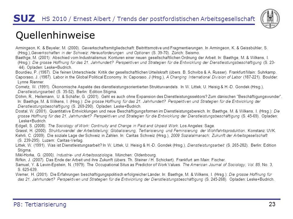 SUZ HS 2010 / Ernest Albert / Trends der postfordistischen Arbeitsgesellschaft. Quellenhinweise.