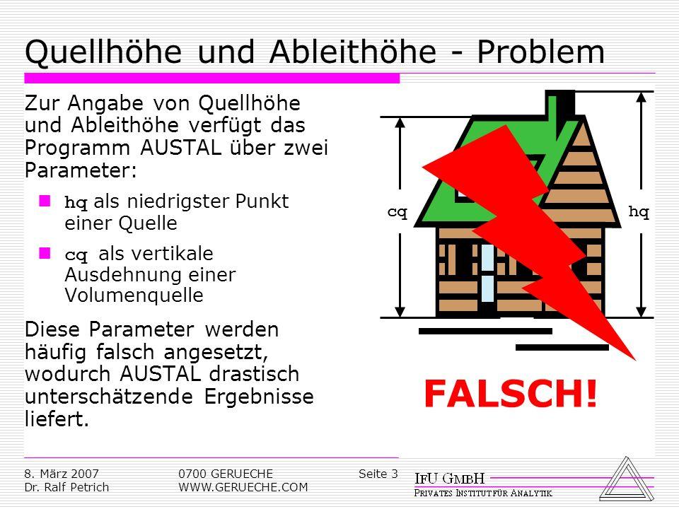 Quellhöhe und Ableithöhe - Problem