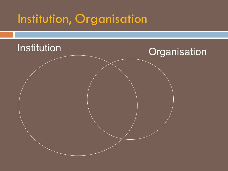 Institution, Organisation