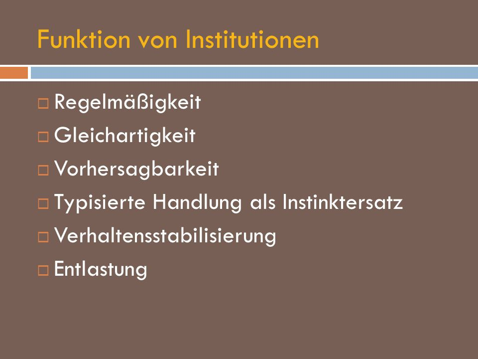 Funktion von Institutionen