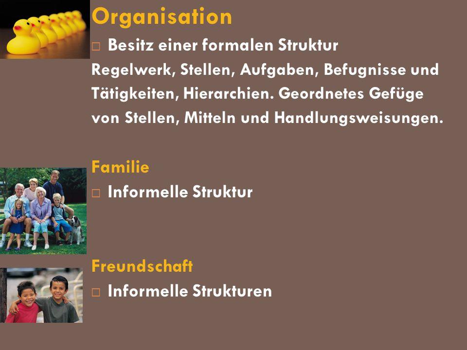 Organisation Besitz einer formalen Struktur Familie
