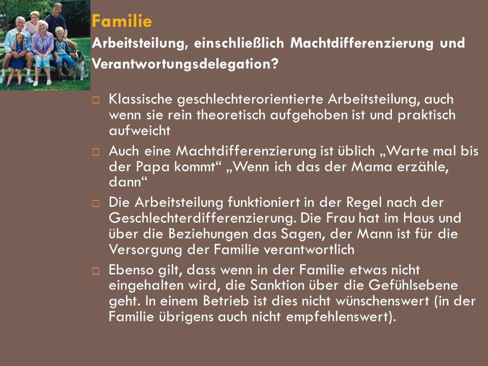 Familie Arbeitsteilung, einschließlich Machtdifferenzierung und