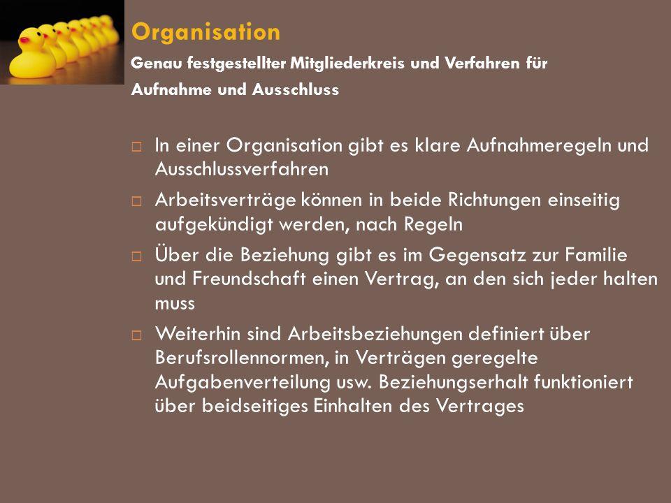 Organisation Genau festgestellter Mitgliederkreis und Verfahren für. Aufnahme und Ausschluss.