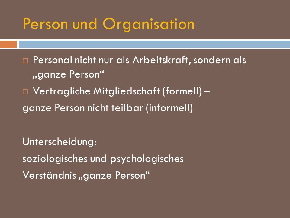 Person und Organisation