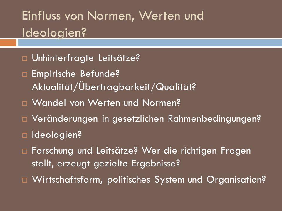 Einfluss von Normen, Werten und Ideologien