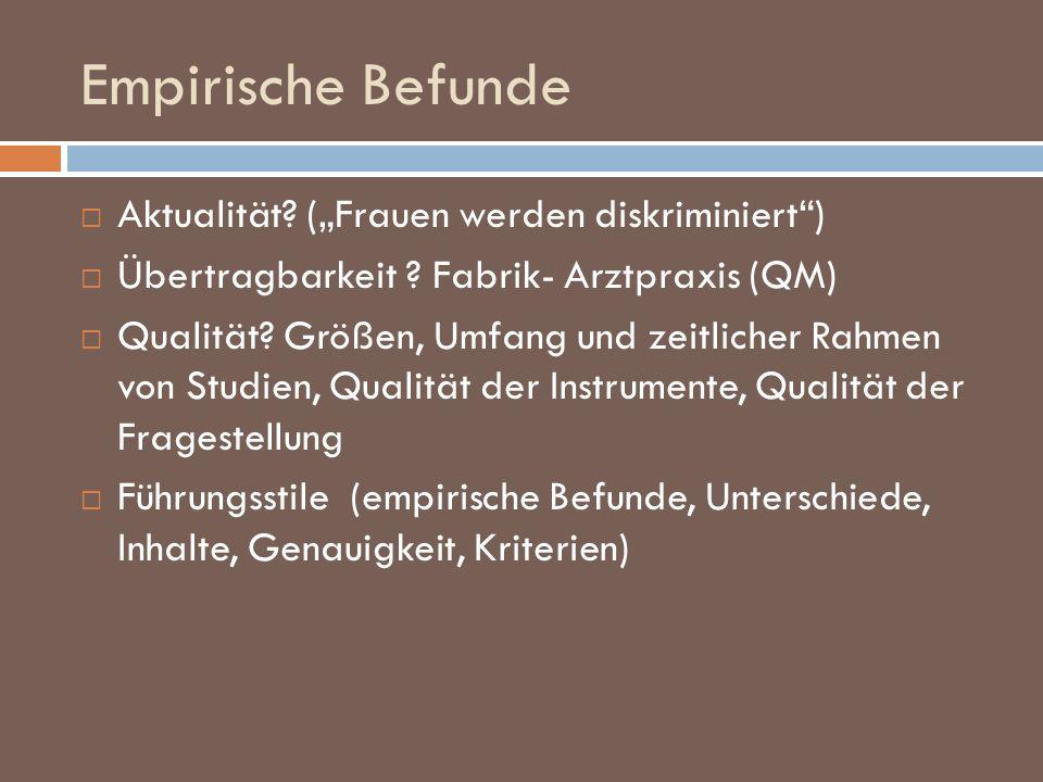 """Empirische Befunde Aktualität (""""Frauen werden diskriminiert )"""