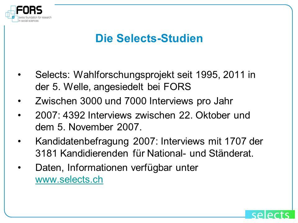 Die Selects-Studien Selects: Wahlforschungsprojekt seit 1995, 2011 in der 5. Welle, angesiedelt bei FORS.