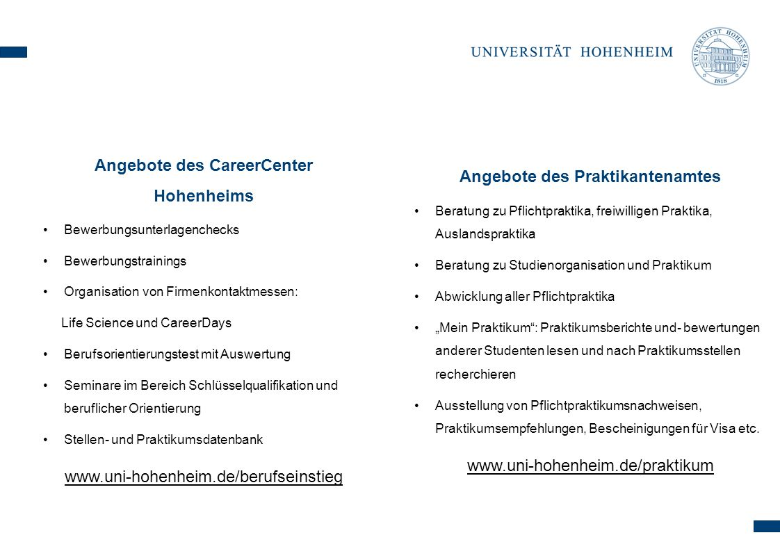 Angebote des CareerCenter Hohenheims