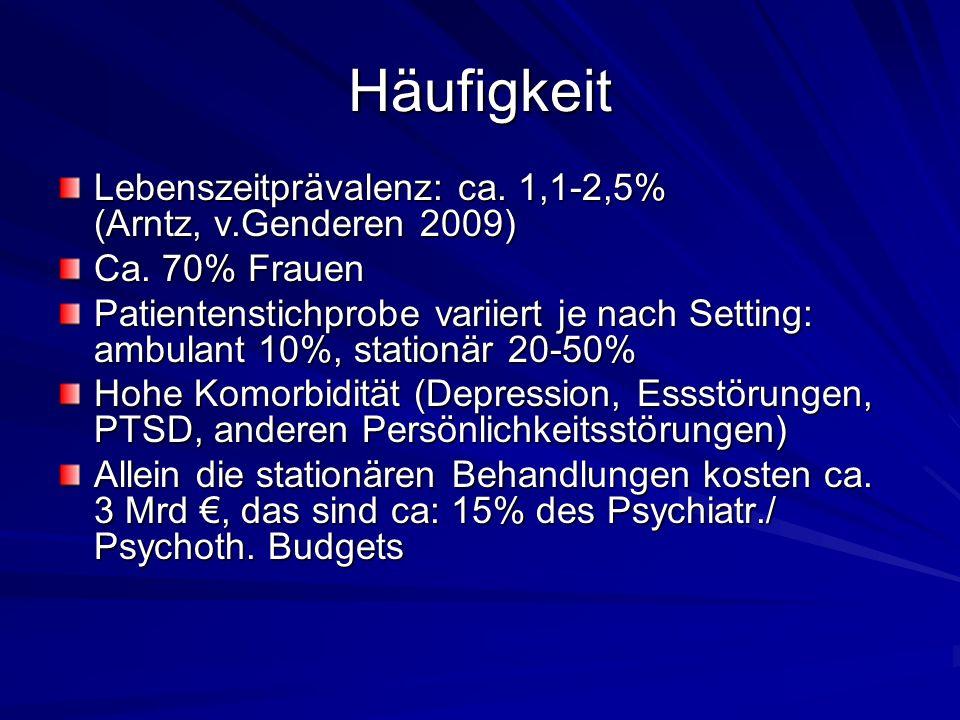 Häufigkeit Lebenszeitprävalenz: ca. 1,1-2,5% (Arntz, v.Genderen 2009)