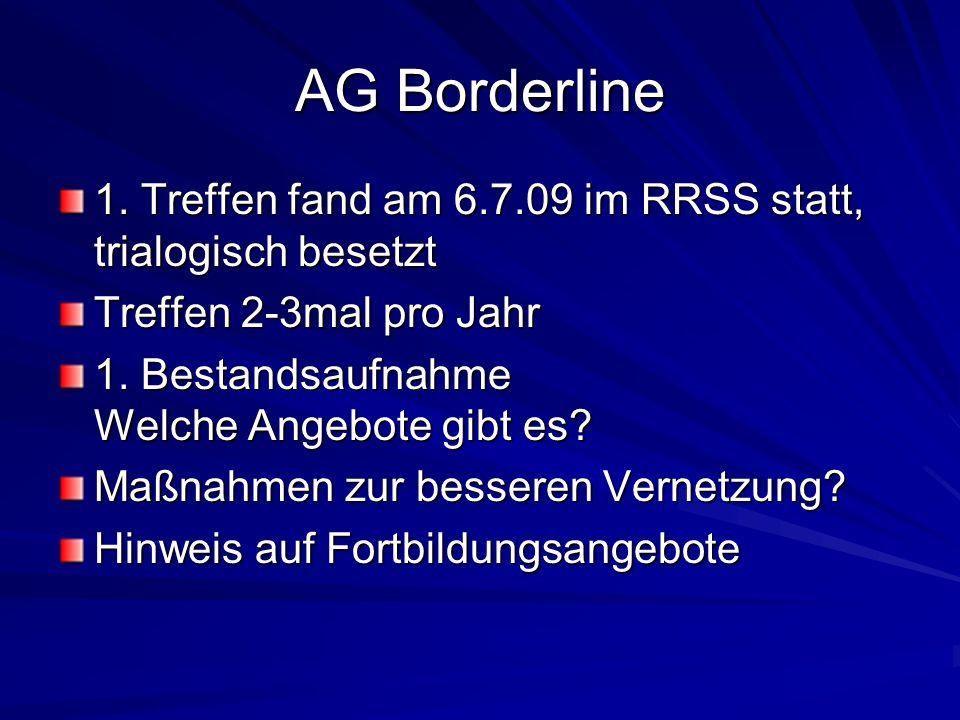 AG Borderline 1. Treffen fand am 6.7.09 im RRSS statt, trialogisch besetzt. Treffen 2-3mal pro Jahr.