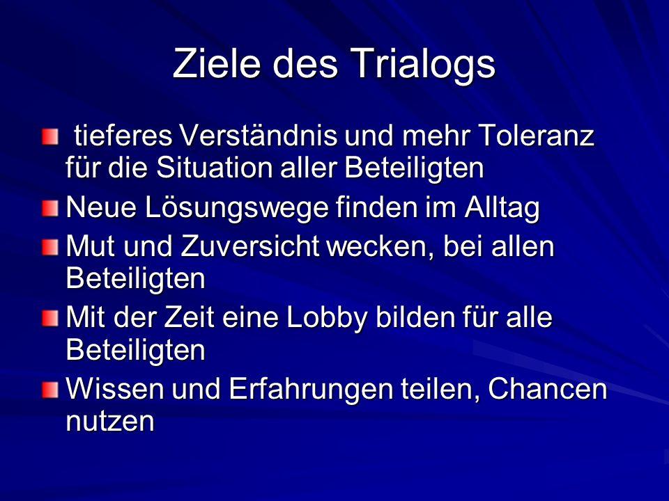 Ziele des Trialogs tieferes Verständnis und mehr Toleranz für die Situation aller Beteiligten. Neue Lösungswege finden im Alltag.