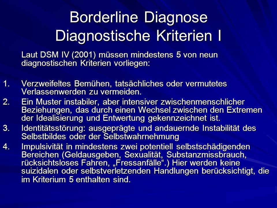 Borderline Diagnose Diagnostische Kriterien I