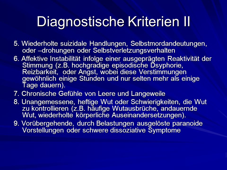 Diagnostische Kriterien II
