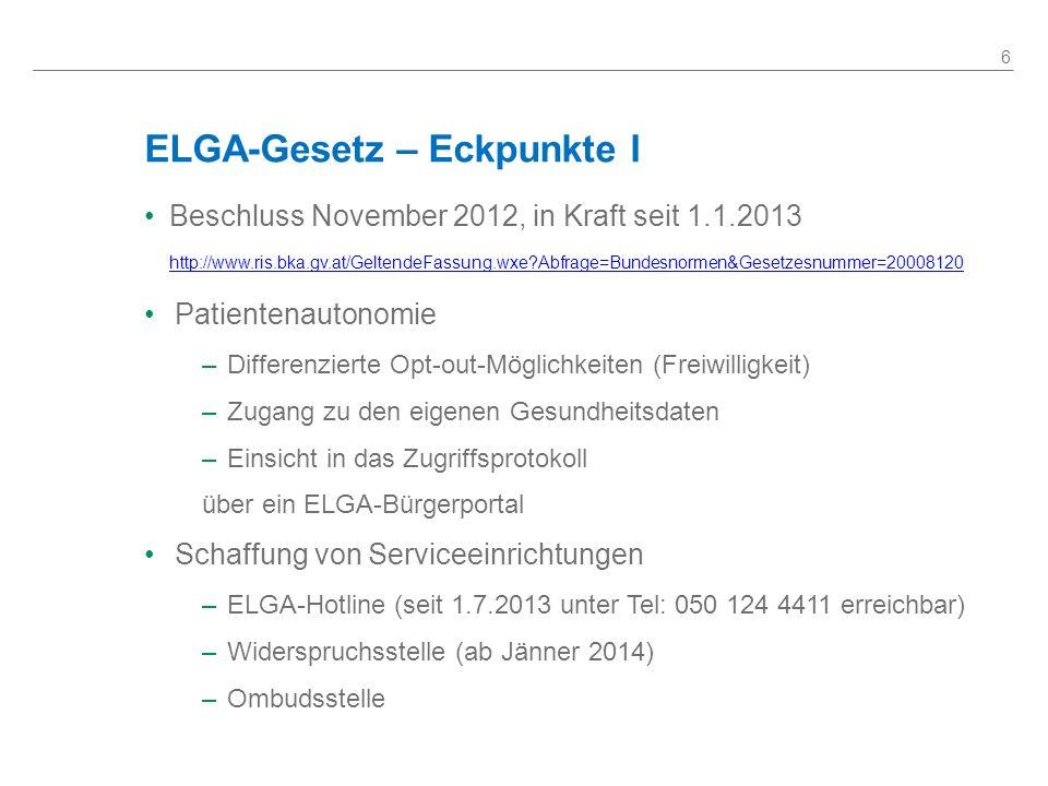 ELGA-Gesetz – Eckpunkte I