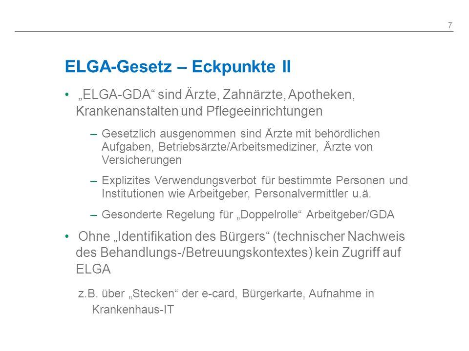 ELGA-Gesetz – Eckpunkte II