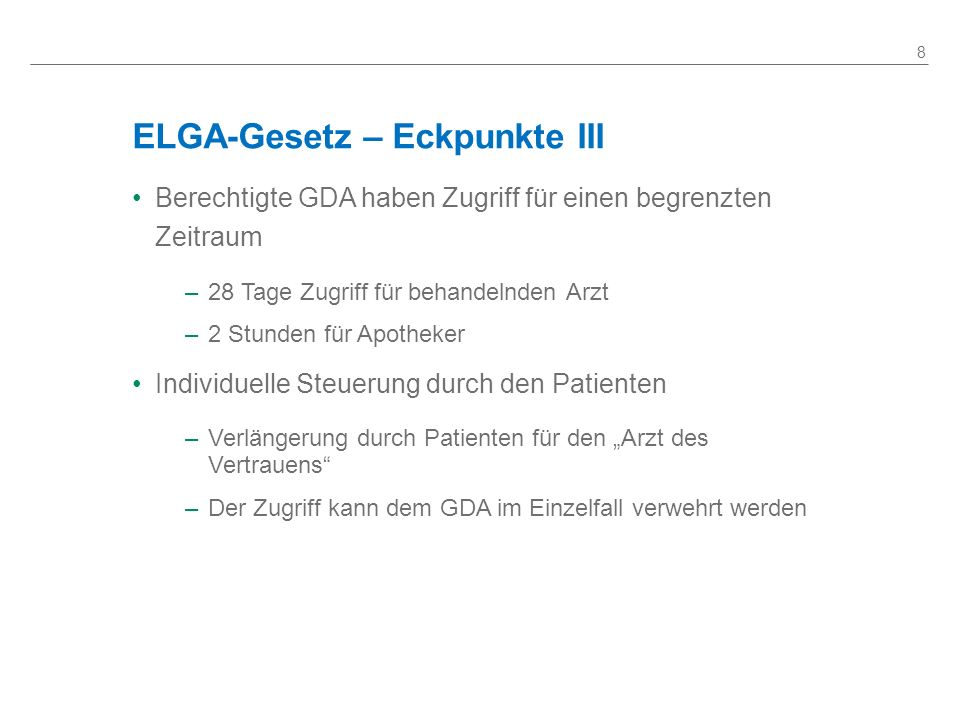 ELGA-Gesetz – Eckpunkte III