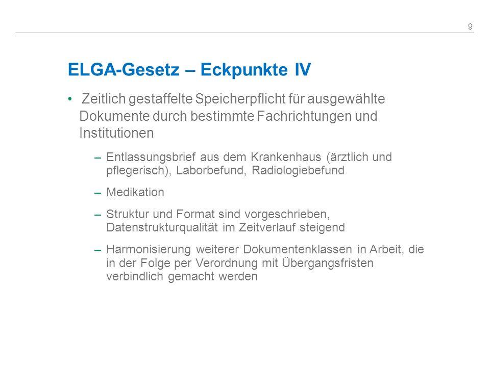 ELGA-Gesetz – Eckpunkte IV