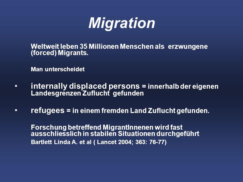 Migration Weltweit leben 35 Millionen Menschen als erzwungene (forced) Migrants. Man unterscheidet.