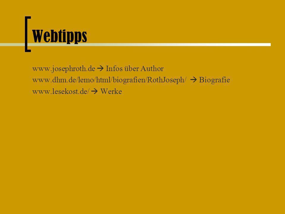 Webtipps www.josephroth.de  Infos über Author