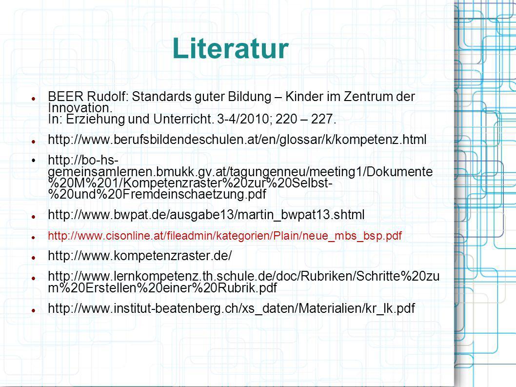 Literatur BEER Rudolf: Standards guter Bildung – Kinder im Zentrum der Innovation. In: Erziehung und Unterricht. 3-4/2010; 220 – 227.