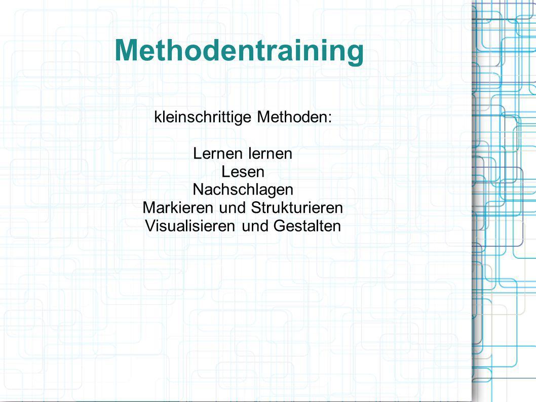 Methodentraining kleinschrittige Methoden: Lernen lernen Lesen