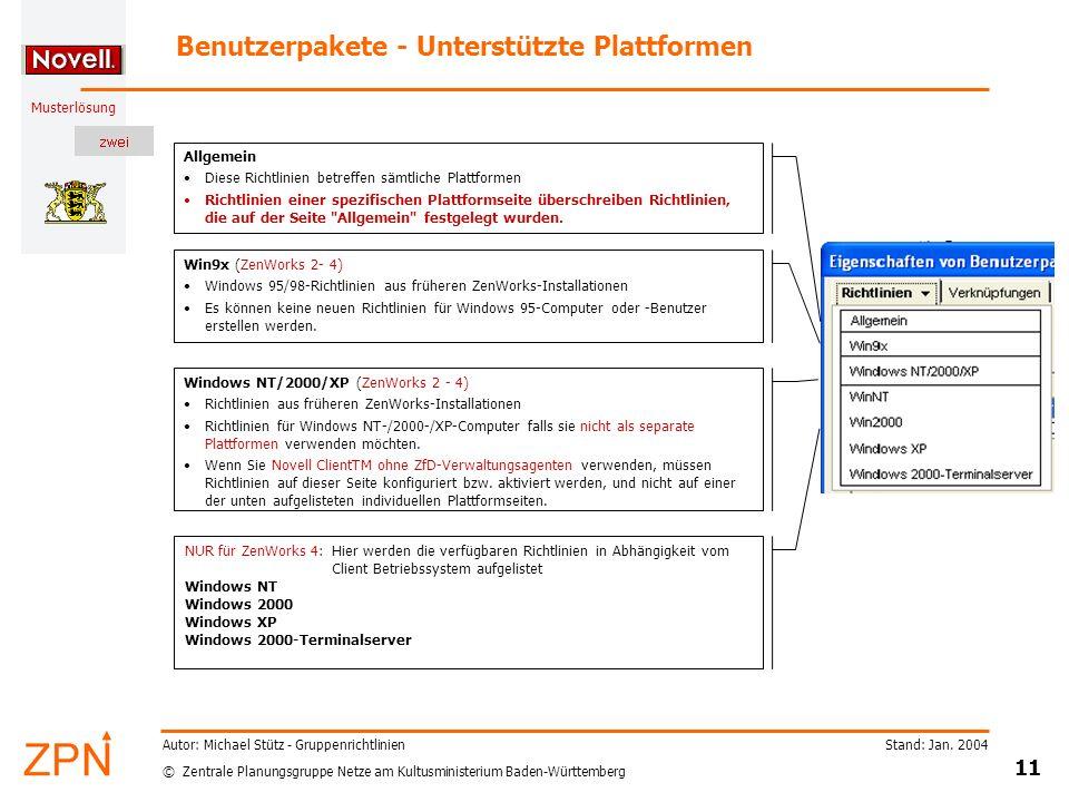 Benutzerpakete - Unterstützte Plattformen