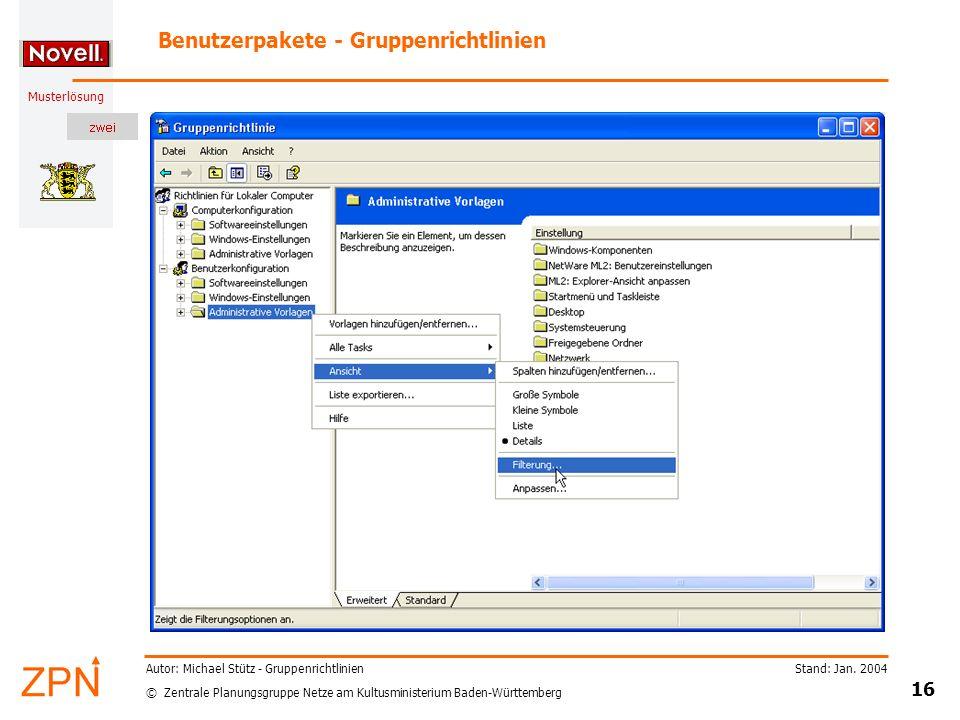 Benutzerpakete - Gruppenrichtlinien
