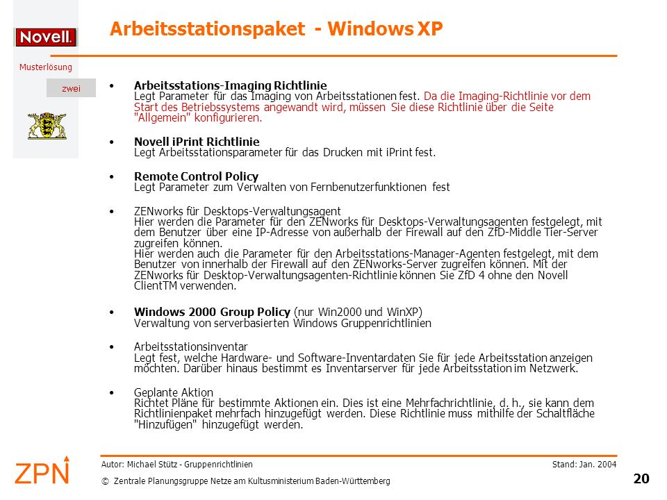 Arbeitsstationspaket - Windows XP